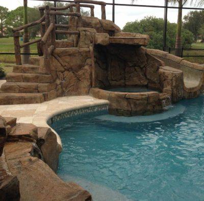 swimming pool lake waterfall