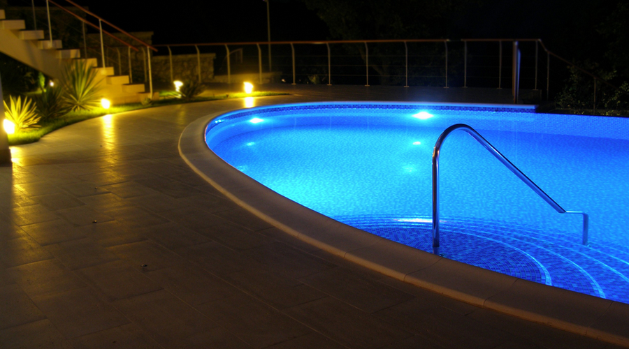 Inground pools at night Above Ground View Larger Image What Inground Cannon Pools What Inground Pool Light Should You Get Led Or Fiber Optic